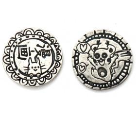 Pièces métal argenté Manga Legendary pour jeux