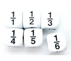 Dé fraction 1/1 1/2 1/3 1/4 1/5 1/6 en 16 mm