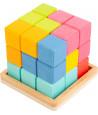 Cube magique bois 6 cm - puzzle multicolore Tétris géant 3D