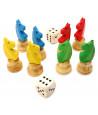 8 pions petits chevaux dada buis 3D et 2 dés