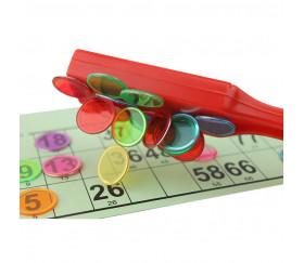 100 Jetons de loto magnétiques avec 1 ramasse jetons baton rouge