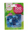 Pions bleus magnétiques ronds loto super qualité - 100 jetons