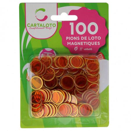 Pions oranges magnétiques ronds loto super qualité - 100 jetons