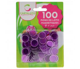 Pions magnétiques ronds violets pour loto super qualité lot de 100