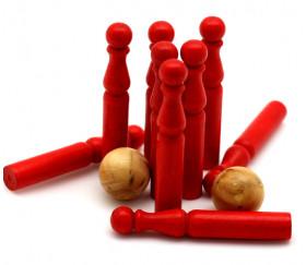Jeu de 9 Mini Quilles bois en rouge 6.5 cm + 2 boules
