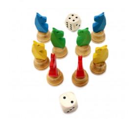 8 pions petits chevaux dada buis 3D et 2 dés pour jeux de société