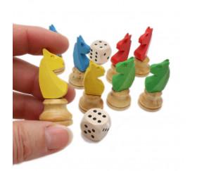 8 pions petits chevaux dada buis 3D et 2 dés lot pièces