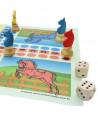 8 pions petits chevaux dada buis 3D et 2 dés en bois pour jeux