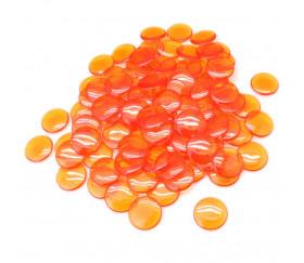 100 Pions de loto ronds 15 mm de diamètre sachet de 100 jetons oranges