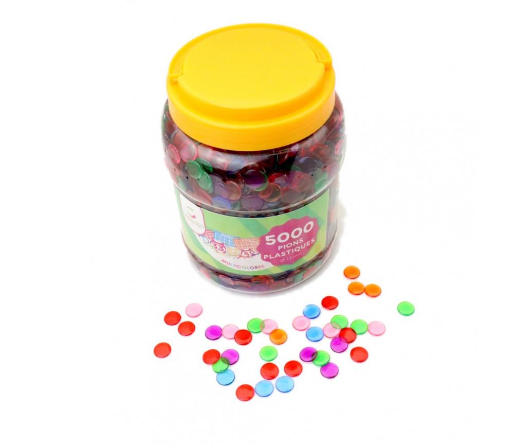 Lot 5000 Jetons 15 mm transparents colorés pour loto ou bingo