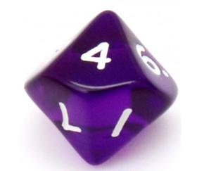 Dé 10 faces en translucide de 0 à 9 violet
