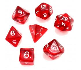 Set 7 dés multifaces translucides rouge