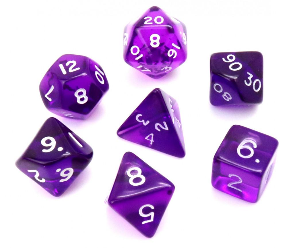 Set 7 dés multifaces translucides violet