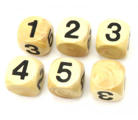 Dé chiffres 12345 Neutre en bois 16 mm buis
