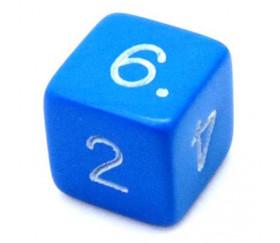 Dé chiffre 15 mm bleu coins droits D6 chiffres 1 à 6