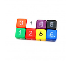 Dé chiffre 15 mm  coins droits D6 chiffres 1 à 6 différentes couleurs pour jeux