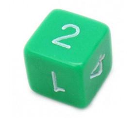 Dé chiffre 15 mm vert coins droits D6 chiffres 1 à 6