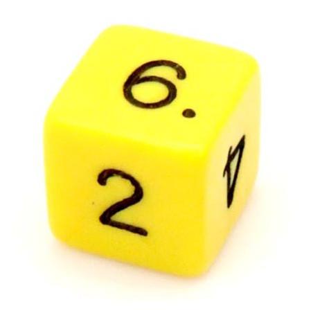 Dé chiffre 15 mm jaune coins droits D6 chiffres 1 à 6