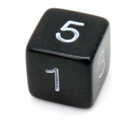 Dé chiffre 15 mm noir coins droits D6 chiffres 1 à 6