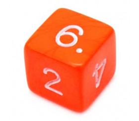 Dé chiffre 15 mm orange coins droits D6 chiffres 1 à 6