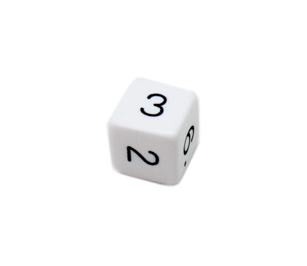 Dé chiffre 15 mm blanc coins droits D6 chiffres 1 à 6