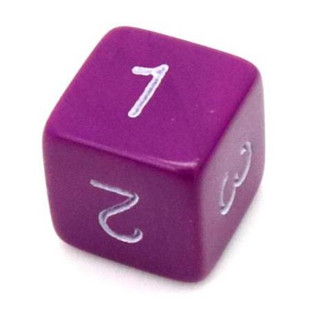 Dé chiffre 15 mm violet coins droits D6 chiffres 1 à 6