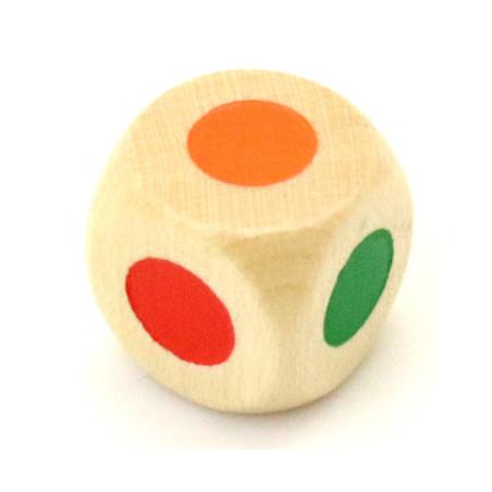 Dé bois 6 points couleurs 16 mm  rouge, vert, jaune, bleu, violet et orange