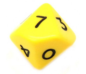 Dé 10 faces opaque 0 à 9 couleur jaune pour jeux