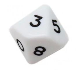 Dé 10 faces opaque 0 à 9 couleur blanche pour jeux