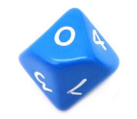 Dé 10 faces opaque 0 à 9 couleur bleue pour jeux