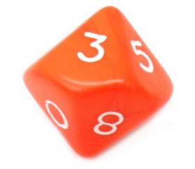 Dé 10 faces opaque 0 à 9 couleur orange pur jeux