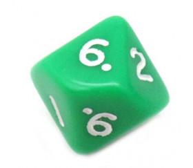 Dé 10 faces opaque 0 à 9 couleur verte pour jeux de société D10