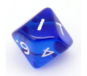 Dé 10 faces en translucide de 0 à 9 bleu