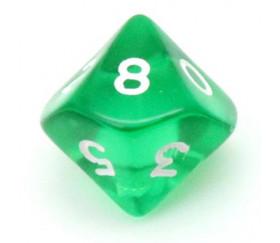 Dé 10 faces en translucide de 0 à 9 vert