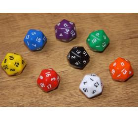 Dé à 20 faces couleurs opaques jeux de rôle