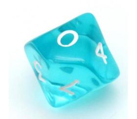 Dé 10 faces en translucide de 0 à 9 . D10 turquoise