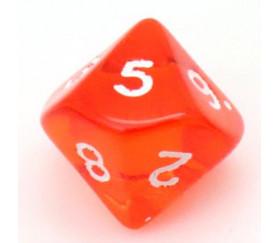 Dé 10 faces en translucide de 0 à 9 couleur orange pour jdr