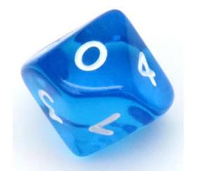 Dé 10 faces en translucide de 0 à 9 couleur bleu