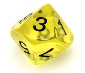 Dé 10 faces en translucide de 0 à 9 couleur jaune
