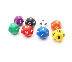 Dé à jouer 12 faces opaques dodécaèdre couleur mise au hasard