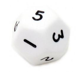 Dé à jouer 12 faces opaques dodécaèdre couleur blanc