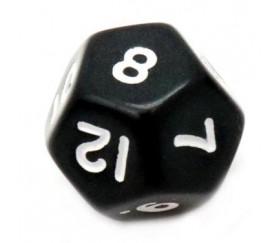 Dé à jouer 12 faces opaques dodécaèdre couleur noir pour jeux