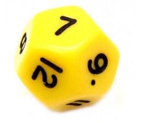 Dé à jouer 12 faces opaques dodécaèdre couleur jaune