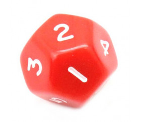 Dé à jouer 12 faces opaques dodécaèdre couleur rouge