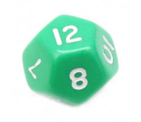 Dé à jouer 12 faces opaques dodécaèdre couleur vert
