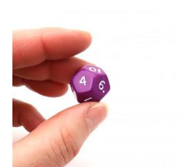 Dé à jouer 12 faces opaques dodécaèdre couleur violet