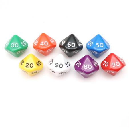 Dé 10 faces dizaine en opaque de 00 à 90 couleur mise au hasard