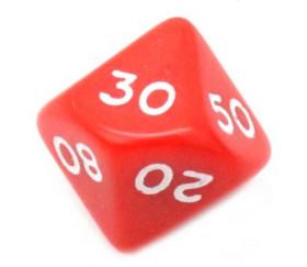 Dé 10 faces dizaine en opaque de 00 à 90 rouge pour jeux