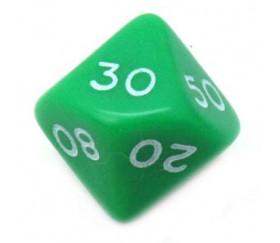 Dé 10 faces dizaine en opaque de 00 à 90 couleur vert
