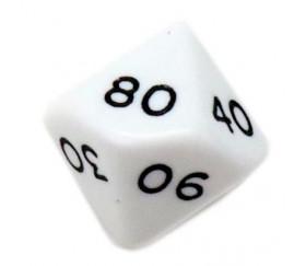 Dé 10 faces dizaine en opaque de 00 à 90 couleur blanc pour jeux